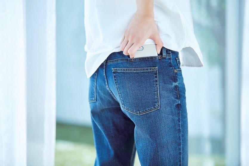 jeans con la tasca per lo smartphone muji